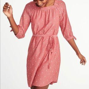 Old Navy long sleeve clip dot dress sz XS pink